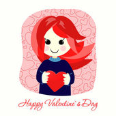 Valentines Day postcard with red girl — Stockvektor