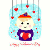 Valentine boy with heart — Stock Vector