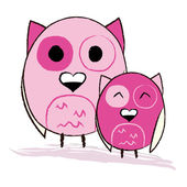 Two cute pink owls — Stock Vector