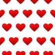 Red heart seamless pattern white background — Stock Vector