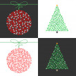 Stock Vector: Red Christmas ball and Green Christmas tree vector set