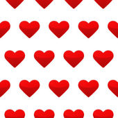 Red heart seamless pattern white background — Vecteur