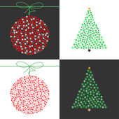 Red Christmas ball and Green Christmas tree vector set — Vector de stock