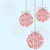 Red Christmas balls on blue background — Vector de stock