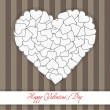 Postcard big heart made of small white hearts on a stripped back — Stock Vector #39971023