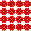 Seamless pattern with four red hearts on a white background — Stock Vector
