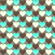 Seamless pattern with many yellow brown and cyan hearts on a bro — Stock Vector