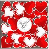Pattern with big red hearts and many small hearts — Stock Vector