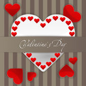 Postcard with big white paper heart and small red hearts — Vector de stock