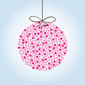 Pink Christmas ball on a blue background — Vector de stock