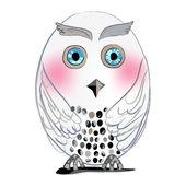 White cute owl — ストックベクタ