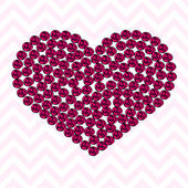 Pink heart pattern made of roses — Stockvektor