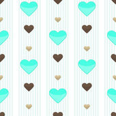 Seamless heart stripped pattern — ストックベクタ
