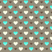 Seamless pattern with cute colorful hearts on a brown background — Stok Vektör