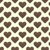 Seamless pattern with brown hearts on a yellow background — Stok Vektör
