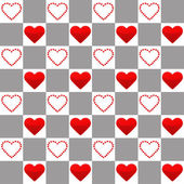 Seamless pattern with one big and many small red hearts — Stock Vector