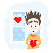 Boy with broken heart and window — Stock Vector