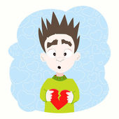 Boy with broken heart in his hands — Vector de stock