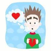 Boy with broken heart — Stock Vector