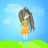 屋外の茶色の髪の少女 — ストックベクタ