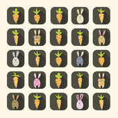 Easter carrots and rabbits icon set — Vector de stock