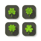 Green clover icons — Stock Vector