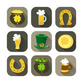 St Patrick Day icon set — Stock Vector