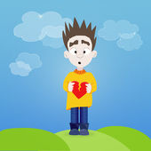 Boy with broken heart in his hands outdoor — Vector de stock