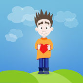 Boy with heart in his hands outdoor — Vector de stock