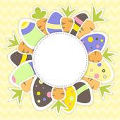 Påsk ägg och morötter mönster på en gul — Stockvektor