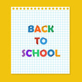 Back to school note paper — Vector de stock