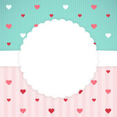 Blue and pink card template with hearts — Stock Vector