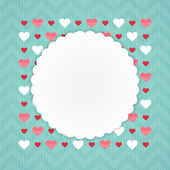 Greeting card with hearts on a blue — Stock Vector