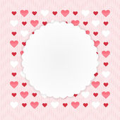Greeting card with hearts on a pink — Stock Vector