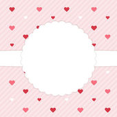 Pink template card with red hearts — Vector de stock