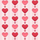 Naadloze patroon met rode harten op een roze — Stockvector