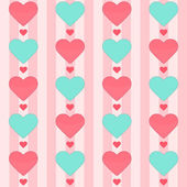 Seamless pattern with many hearts on a pink — Stock Vector