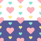 Seamless hearts pattern purple and white — Stock Vector