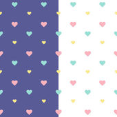 Seamless heart pattern purple and white — Stock Vector