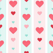 Seamless heart pink blue stripped pattern — Stock Vector