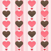 Seamless pattern with many brown and red hearts on a pink — Stock Vector