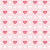 Seamless pattern cute red and white hearts on a pink — Vector de stock