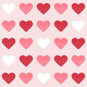 Seamless pattern with cute red and white hearts on a pink — Vector de stock