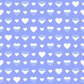 Seamless pattern cute white hearts on a blue — Stock Vector