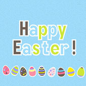 Easter colorful blue greeting card — Vector de stock