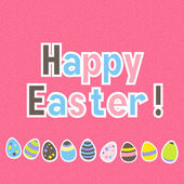 Easter colorful pink greeting card — Vector de stock