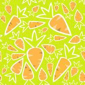 Seamless pattern orange carrots on a green — Vector de stock