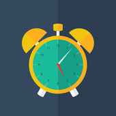 Orange alarm clock icon over blue — Vettoriale Stock