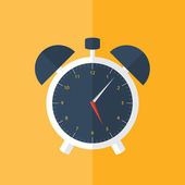 White alarm clock icon over orange — Stockvektor