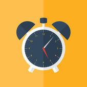 White alarm clock icon over orange — Stock Vector